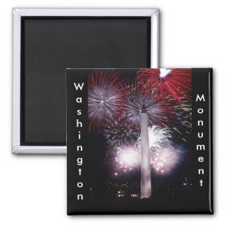 Washington Monument Fireworks 2 Inch Square Magnet