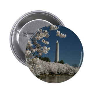 Washington monument in cherry blossoms pinback button