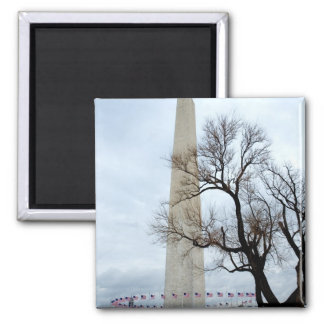 Washington Monument in Winter 2 Inch Square Magnet
