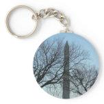 Washington Monument in Winter I Travel Photography Basic Round Button Keychain