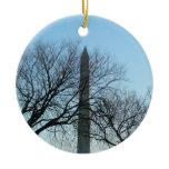 Washington Monument in Winter I Travel Photography Ceramic Ornament