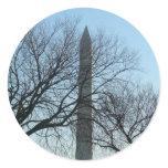 Washington Monument in Winter I Travel Photography Classic Round Sticker