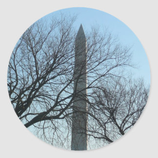 Washington Monument in Winter I Travel Photography Classic Round Sticker
