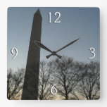 Washington Monument in Winter II DC Travel Photo Square Wall Clock