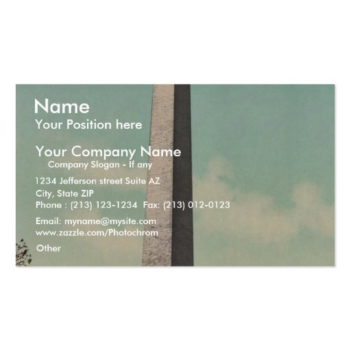 Washington Monument rare Photochrom Business Card Templates
