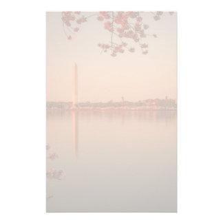 Washington Monument Sakura at sunset. Stationery