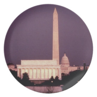 Washington Monument, the Capitol and Jefferson Party Plates