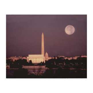 Washington Monument, the Capitol and Jefferson Wood Wall Art