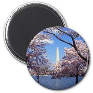Washington Monument Through Cherry Blossoms 2 Inch Round Magnet