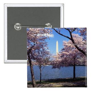 Washington Monument Through Cherry Blossoms 2 Inch Square Button