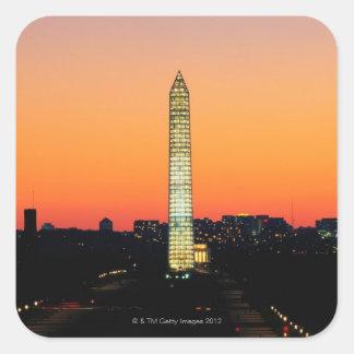 Washington Monument Under Restoration at Sunset Square Stickers