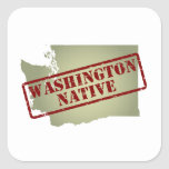 Washington Native Stamped on Map Square Sticker