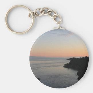 Washington Ocean View Sunset Basic Round Button Keychain