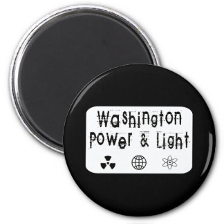 Washington Power and Light, White 2 Inch Round Magnet