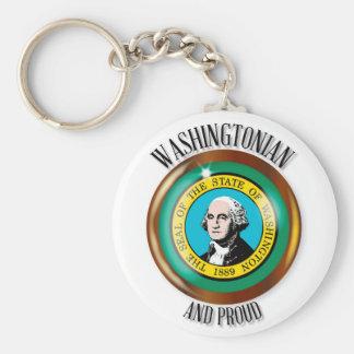 Washington Proud Flag Button Keychain