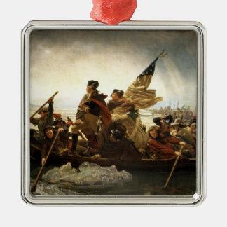 Washington que cruza el Delaware - 1851 Adorno Navideño Cuadrado De Metal