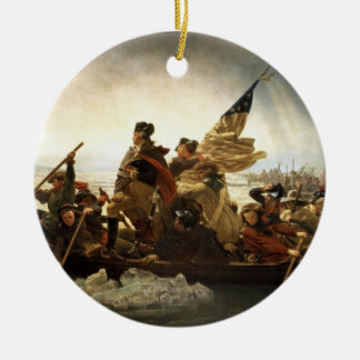 Washington que cruza el Delaware - 1851 Adorno Navideño Redondo De Cerámica