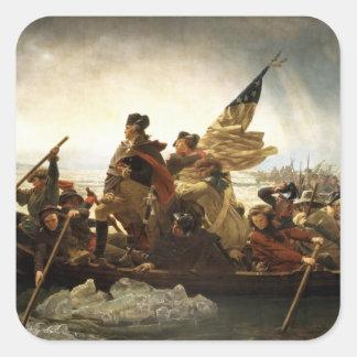 Washington que cruza el Delaware - 1851 Pegatina Cuadrada