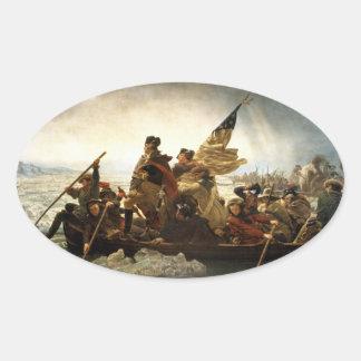 Washington que cruza el Delaware - 1851 Pegatina Ovalada