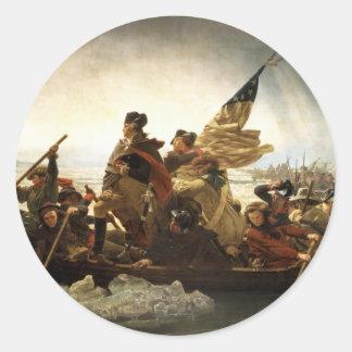Washington que cruza el Delaware - 1851 Pegatina Redonda