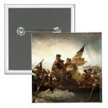 Washington que cruza el Delaware - 1851 Pin Cuadrado