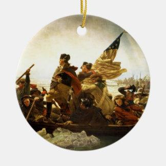 Washington que cruza el Delaware de Manuel Leutze Adorno Navideño Redondo De Cerámica
