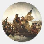 Washington que cruza el Delaware Etiquetas Redondas
