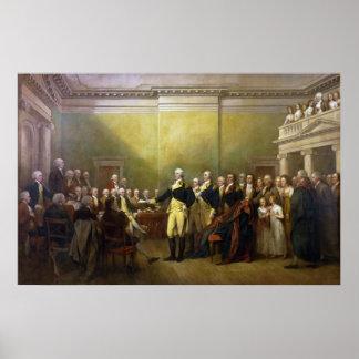 Washington que dimite a su Comisión Juan Trumbull Poster