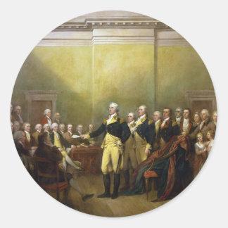 Washington que dimite a su Comisión Juan Trumbull Pegatina Redonda