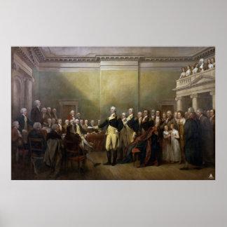 Washington que dimite a su Comisión Juan Trumbull Póster