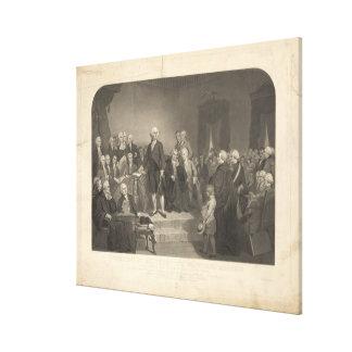 Washington que entrega su discurso inaugural impresiones en lona