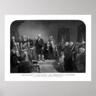 Washington que entrega su discurso inaugural poster