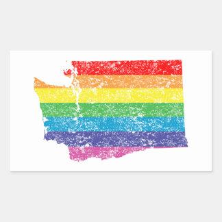 washington rainbow rectangular sticker
