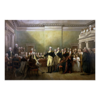 Washington Resigning His Commission Poster