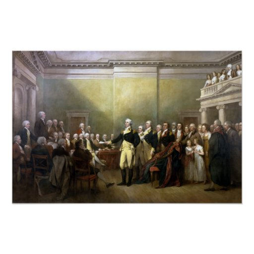 Washington Resigning His Commission Poster