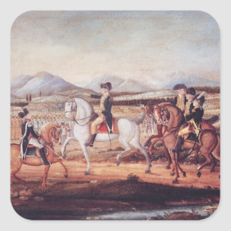 Washington Reviewing the Western Army Square Sticker