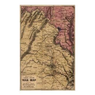 Washington Richmond Civil War Map Poster