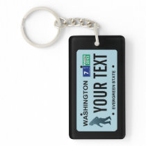 Washington Sasquatch License Plate Keychain