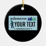 Washington Sasquatch License Plate Christmas Tree Ornament