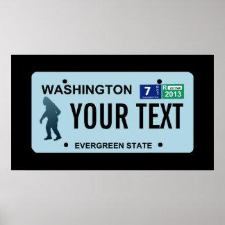 Washington Sasquatch License Plate Poster