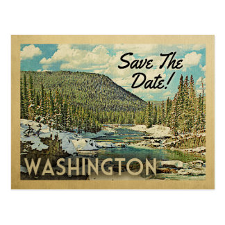 Washington Save The Date Mountains River Snow Postcard