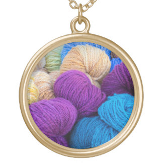 Washington, Seabeck. Balls of colorful yarn Gold Plated Necklace