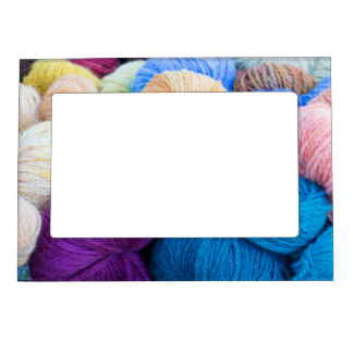 Washington, Seabeck. Balls of colorful yarn Magnetic Picture Frame