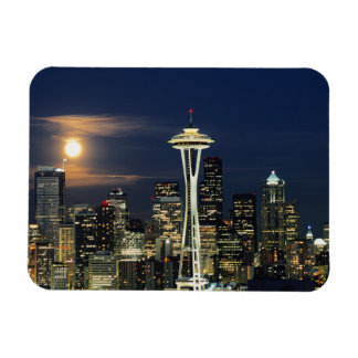 Washington, Seattle, horizonte en la noche de Imanes Flexibles
