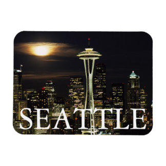 Washington, Seattle, horizonte en la noche de Iman