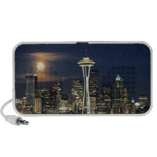 Washington, Seattle, horizonte en la noche de Laptop Altavoz