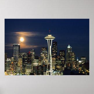 Washington, Seattle, horizonte en la noche de Póster