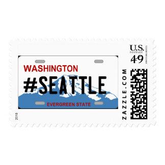 Washington Seattle license plate postage stamp
