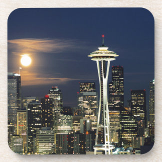 Washington, Seattle, Skyline at night from Kerry 1 Beverage Coaster