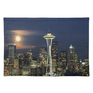 Washington, Seattle, Skyline at night from Kerry 1 Cloth Placemat